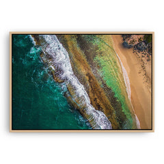 Aerial textures at Yanchep Lagoon, Western Australia framed canvas in raw oak