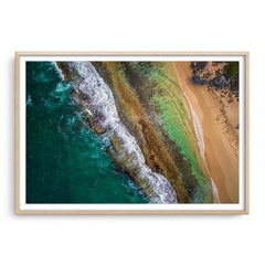 Aerial textures at Yanchep Lagoon, Western Australia framed in raw oak