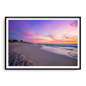 Beautiful sunset on Mullaloo Beach in Perth, Western Australia framed in black