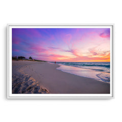 Beautiful sunset on Mullaloo Beach in Perth, Western Australia framed in white