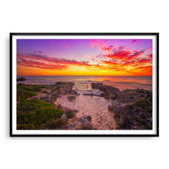 Watching the sunset at Mettams Beach in Western Australia framed in black
