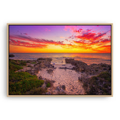 Watching the sunset at Mettams Beach in Western Australia framed canvas in raw oak