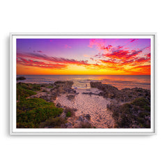 Watching the sunset at Mettams Beach in Western Australia framed in white