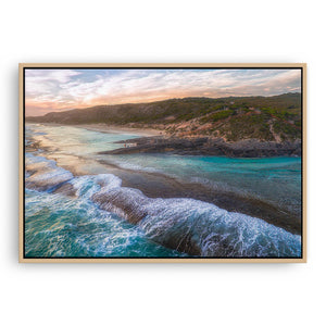 Dramatic aerial view of 11 Mile Beach in Esperance, Western Australia framed canvas in raw oak