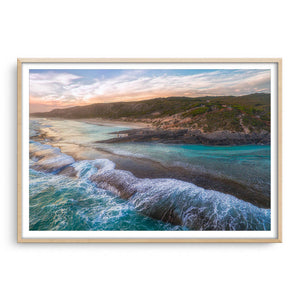 Dramatic aerial view of 11 Mile Beach in Esperance, Western Australia framed in raw oak