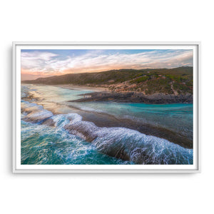 Dramatic aerial view of 11 Mile Beach in Esperance, Western Australia framed in white