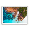 Idylic beach at Thistle Cove in Cape Le Grand, Esperance, Western Australia framed in raw oak