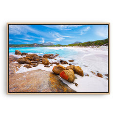 Hellfire Bay in the Cape Le Grand National Park, Esperance, Western Australia framed canvas in raw oak