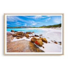 Hellfire Bay in the Cape Le Grand National Park, Esperance, Western Australia framed in raw oak