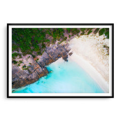 Aerial view of 11 Mile Beach in Esperance, Western Australia framed in black