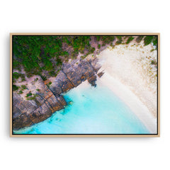 Aerial view of 11 Mile Beach in Esperance, Western Australia framed canvas in raw oak