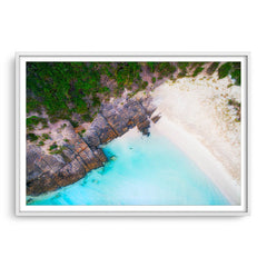 Aerial view of 11 Mile Beach in Esperance, Western Australia framed in white