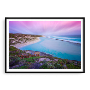 Soft sunset at 11 Mile Beach, Esperance, Western Australia framed in black
