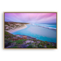 Soft sunset at 11 Mile Beach, Esperance, Western Australia framed canvas in raw oak