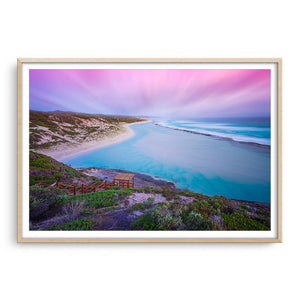 Soft sunset at 11 Mile Beach, Esperance, Western Australia framed in raw oak