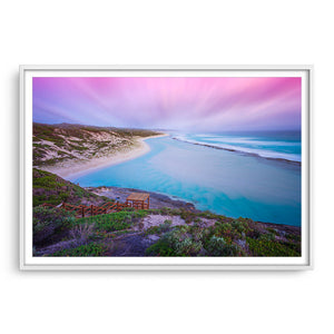 Soft sunset at 11 Mile Beach, Esperance, Western Australia framed in white