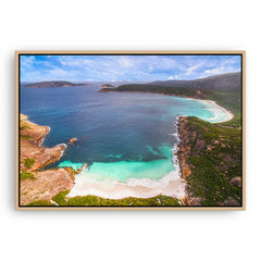 Aerial view of Little Hellfire Bay in the Cape Le Grand National Park, Esperance, Western Australia framed canvas in raw oak