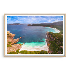 Aerial view of Little Hellfire Bay in the Cape Le Grand National Park, Esperance, Western Australia framed in raw oak