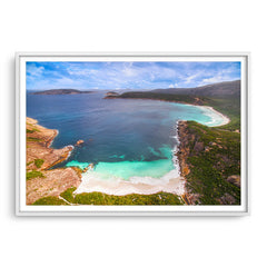Aerial view of Little Hellfire Bay in the Cape Le Grand National Park, Esperance, Western Australia framed in white