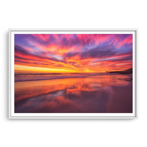Rich, colourful sunset at North Beach in Western Australia framed in white