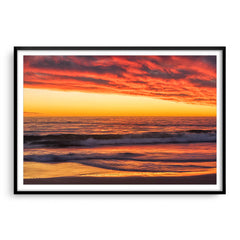 Rich sunset from North Beach in Perth, Western Australia framed in black