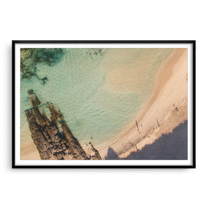 Morning shadows at Eleven Mile Beach in Esperance framed in black