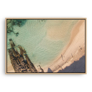 Morning shadows at Eleven Mile Beach in Esperance framed canvas in raw oak