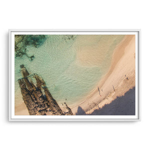 Morning shadows at Eleven Mile Beach in Esperance framed in white