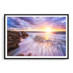 Sunset at watermans bay in Perth, Western Australia framed in black