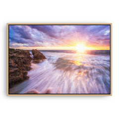 Sunset at watermans bay in Perth, Western Australia framed canvas in raw oak