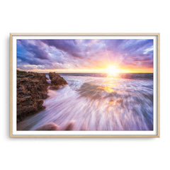 Sunset at watermans bay in Perth, Western Australia framed in raw oak