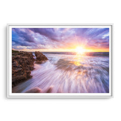 Sunset at watermans bay in Perth, Western Australia framed in white