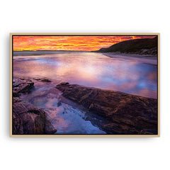 Sunset at Eleven Mile Beach, Esperance Western Australia framed canvas in raw oak