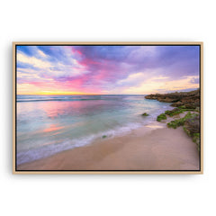 Pastel coloured sunset at Mettams Pool in Perth, Western Australia framed canvas in raw oak