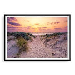 Sunset at Trigg Beach in Perth, Western Australia framed in black