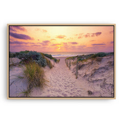 Sunset at Trigg Beach in Perth, Western Australia framed canvas in raw oak