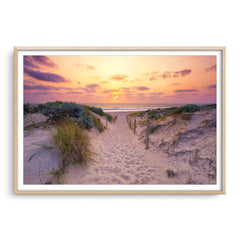 Sunset at Trigg Beach in Perth, Western Australia framed in raw oak
