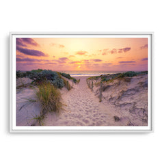 Sunset at Trigg Beach in Perth, Western Australia framed in white