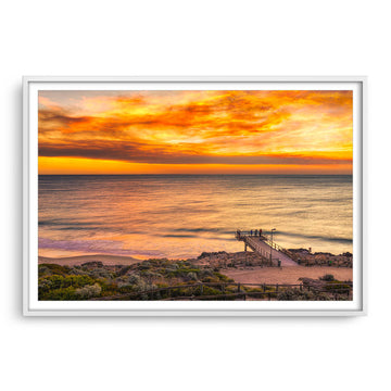Smoke filled sunset over North Beach Jetty in Perth, Western Australia