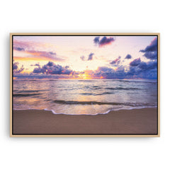 Soft coloured sunset over Mettams Pool in Perth, Western Australia framed canvas in raw oak