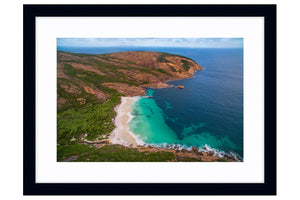 Aerial view of Little Hellfire Bay in Western Australia framed in black