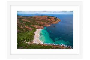 Aerial view of Little Hellfire Bay in Western Australia framed in white