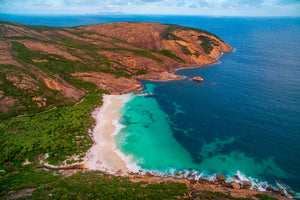 Aerial view of Little Hellfire Bay in Western Australia