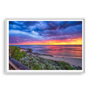 Colourful sunset over Mettams Pool in Perth, Western Australia framed in white