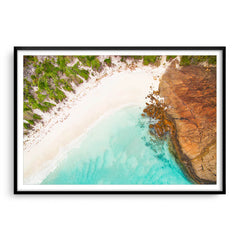 Aerial view of Hellfire Bay in Esperance, Western Australia framed in black