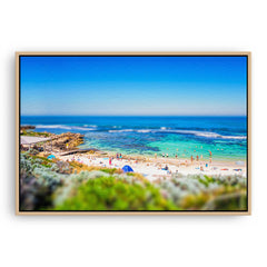 Miniature view of Mettams Pool in Perth, Western Australia framed canvas in raw oak