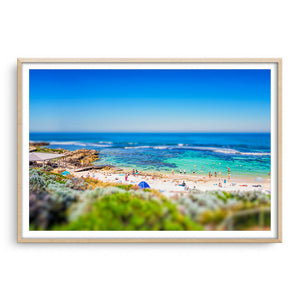 Miniature view of Mettams Pool in Perth, Western Australia framed in raw oak