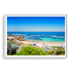 Miniature view of Mettams Pool in Perth, Western Australia framed in white