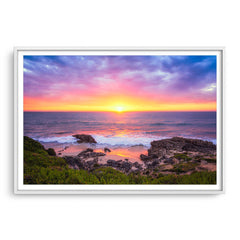 Beautiful sunset at Trigg Beach in Perth, Western Australia framed in white