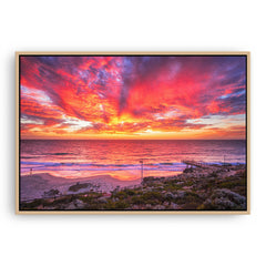 Incredible red sunset over North Beach Jetty in Perth, Western Australia framed canvas in raw oak